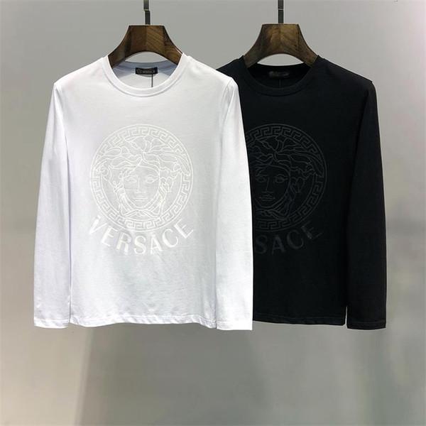 2019 Chemise de créateur de mode Vêtements pour hommes Imprimé à manches longues T-shirt slim T-shirt en coton pour homme Leisure Pure T-shirt 16