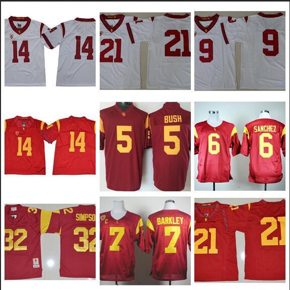 Mens USC Trojans Marca Sanchez Costurado NameNumber American College Futebol Jersey Tamanho S-3XL