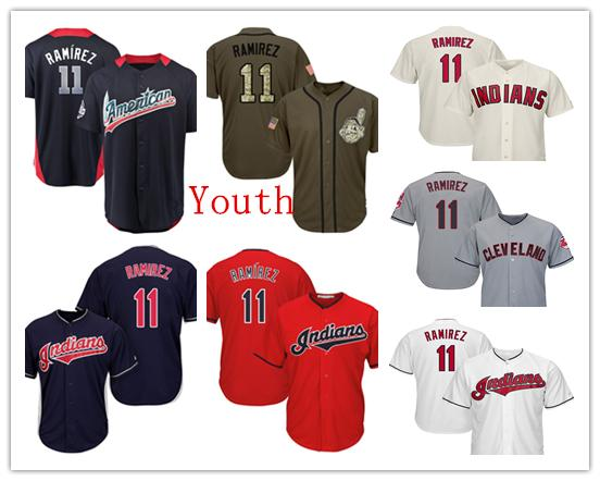 sports shoes b2688 c6146 2019 Youth Kids Child Cleveland Indians Baseball Jerseys 11 Jose Ramirez  Jersey Red Navy Blue White Grey Gray Cream Green Salute From Jerseys4all,  ...