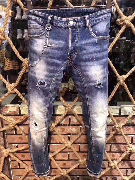 Moda clásica para hombre angustiado Ripped Biker Jeans Slim Fit Motorcycle Biker Denim para hombres Diseñador de moda Hip Hop Mens Jeans A203
