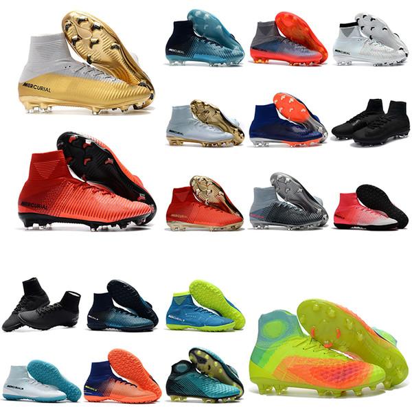 2018 chaussures de football Hot boys Mercurial Superfly V SX Neymar Ronalro CR7 FG chaussures de football pour enfants chaussures de football en salle bottes de football pour hommes botas de futbol Turf