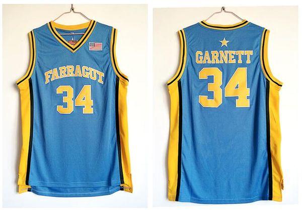 Erkek # 34 Kevin Garnett Farragut Akademi Lisesi Basketbol Formalar Mavi İyi Kalite Dikişli Hip-Hop Gömlek