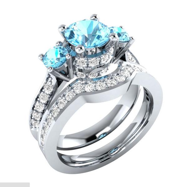 Argent 925 bagues CZ bague en diamant sertie de bijoux en cristal de mariage pour femme lady 2pcs / set cadeau de Noël