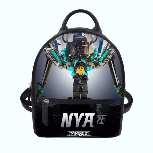 3D Ninjago Games Printing Backpack Women Female PU Leather Shoulder Bag Lady Girls Orthopedic School Bag Casual Laptop Rucksack