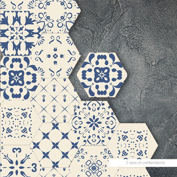 Adesivi per pavimenti moderni blu fai-da-te decalcomanie autoadesive antiscivolo impermeabili anti-olio decalcomanie camera da letto 3d autoadesiva autoadesiva 3d