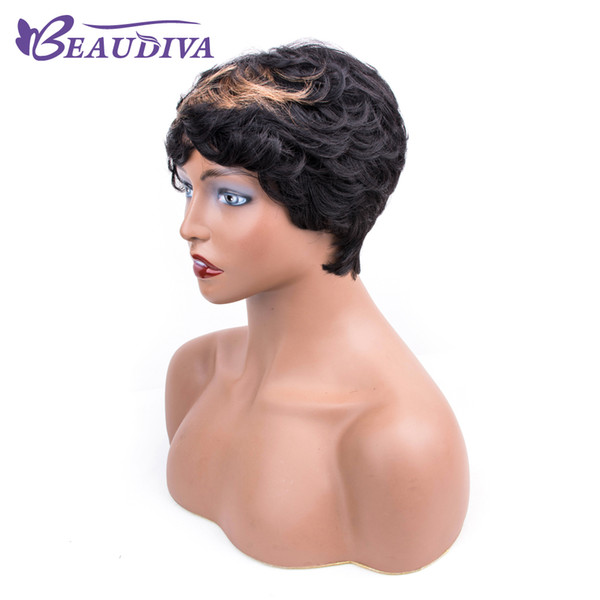 Cheap Black Brown 1b 30# Ombre Brown Loose Wave Wigs Heat Non Lace Front Wigs for Black Women