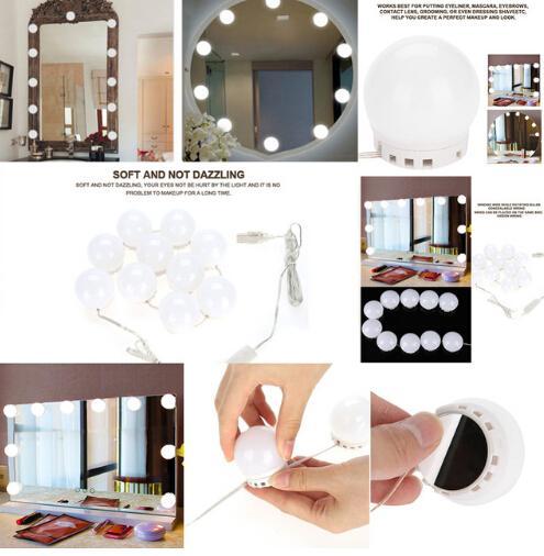 Miroir de maquillage de 10 ampoules LED s'allume Dimmable Bulb tonalité chaude / froide habillant le miroir décoratif Kit d'ampoules d'ampoules LED accessoire de maquillage