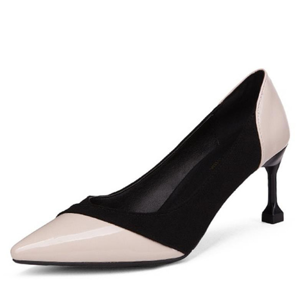 Dress Shoes 2019 Spring New Stiletto Heels Shallow Mouth Fashion Color Matching Women's Single Pointed Casual Professional