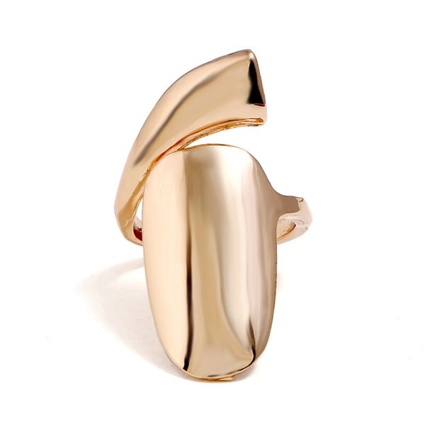 New Fashion Gold Color Metal Retro Goth Punk Style Exaggerated Long Joint Nail Tail Ring for Men and Women Gift
