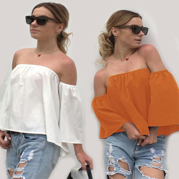 T-shirt de couleur unie hors de l'épaule Tops Sept manches Boob Tube Top chemise en vrac Summer Women Clothes Blanc Noir Drop Ship