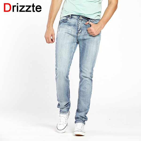 Drizzte Mens Light Blue Grey Jeans Men Slim Stretch Denim Trousers Pants Size 30 32 34 35 36 38 40 42 Fashion Denim