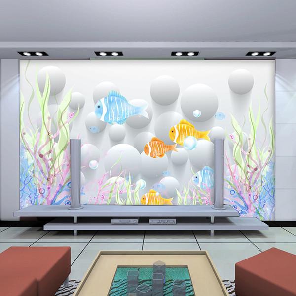 Seamless 3D large mural underwater world dolphin children's room living room TV background wall bedroom wallpaper