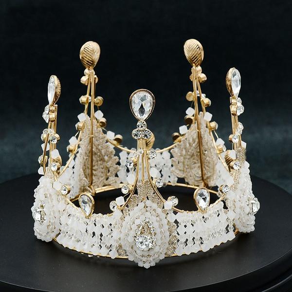 Barok Kadınlar Lüks Yüksek Rhinestone Boncuk Gelin Tiara ve Taç Noiva Kraliçe Diadem Kafa Adet Düğün Saç Takı Aksesuarları