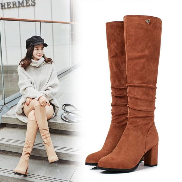 Plus Size 30 31 32 33 42 43 Per la moda beige rughe tacco grosso ginocchio stivali di design di alta inverno stivali L05