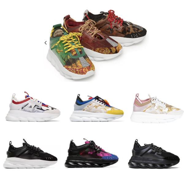 2019 zapatillas de deporte de diseñador Reacción en cadena Hombres Mujeres Moda de lujo Zapatillas de deporte Zapatos de cuero Zapatos casuales Entrenador Suela ligera con caja
