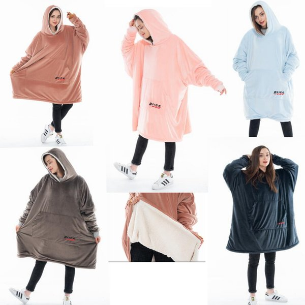 solid Blanket Sweatshirt Super Soft Warm Comfortable Sherpa Hoodie with Giant Pocket Cozy Sherpa Blanket Sweatshirt 7 colors MMA1199