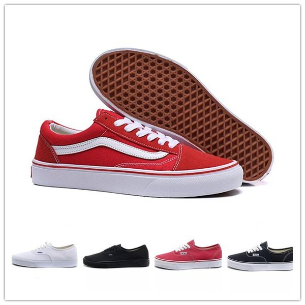 Compre 2020 Vans Shoes Men Women 2020 Cheap Classic Van Off The Wall Old Skool Canvas Sneakers Fear Of God Black White Red YACHT CLUB Blue Mens Womens