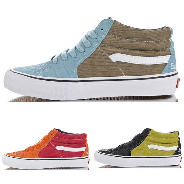 High Quality Sk8 Mid Pro Corduroy Croc Alligator Pattern Skateboard Shoes Men Women Burgundy Sneakers VN0A347UPUI Size 36-44