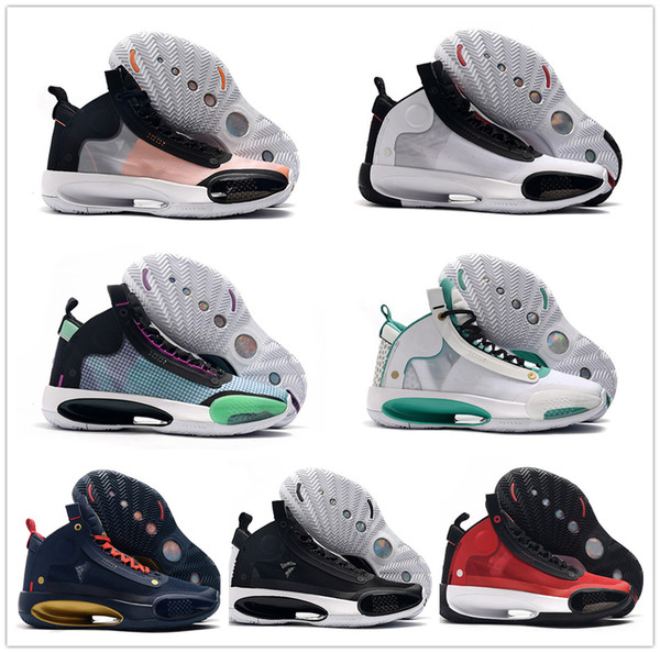 latest women kids 34 xxxiv bred blue void amber rise eclipse basketball shoes 34s zoom jumpman ladies designer sports sneakers with box