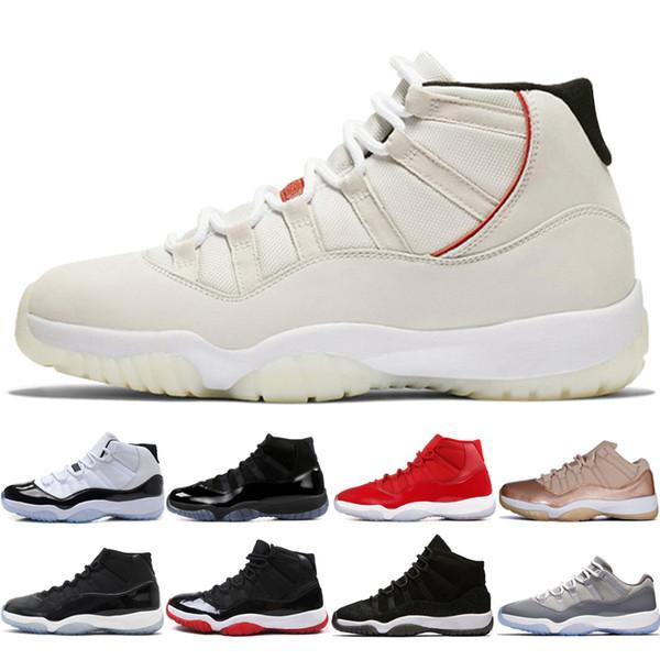 11s Platinum Tint Concord 45 Herren Basketballschuhe 11 Cap und Kleid Blackout Gym Red Midnight Navy Bred Space Jams Sport-Sneakers Designer
