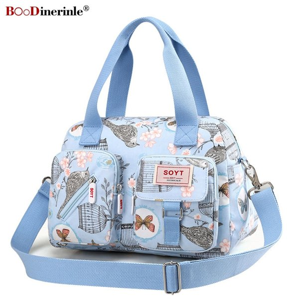 Womens Handbag Floral Casual Portable Shoulder Bags Light Travel Women Waterproof Nylon Cloth Messenger Bag Multi Pocket Bag 002 #94104