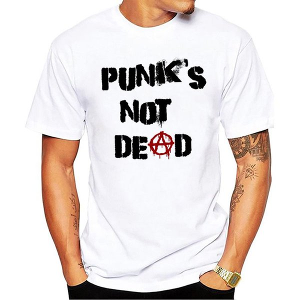 Punk Anarchy T-Shirt Männer Punks not Dead Print Short Sleeve Weiß Tees Men Street Style Sketch Rock-Tops