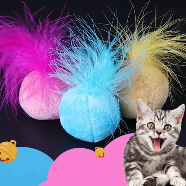 Pet squeak pena bola de pelúcia brinquedos de pelúcia catnip som interativo pequeno sino pet cat suprimentos engraçado toy mini cromática bola ffa1340