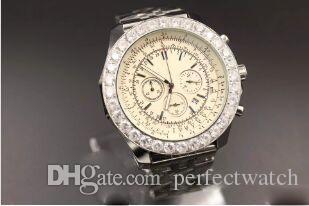 2018 ~ 2019 Top Qualität Special Edition Brel Marken-Quarz-Uhr-Mann-Weiß Dial Silber Skeleton Edelstahl-Gürtel Diamant-Kasten 1884 Uhr Montre