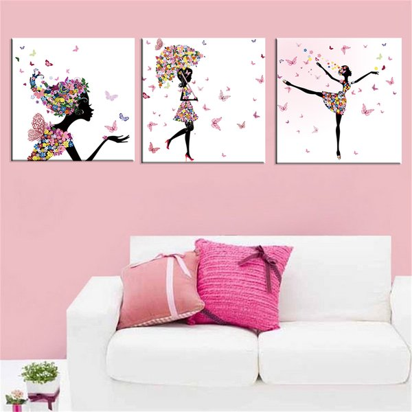 Abstract Modern 3 Pieces Butterfly and Dancing Girl Picture Canvas Modular Poster HD Prints Painting Home Living Decoration