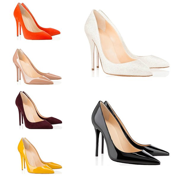 2019 best luxury designer women shoes red bottoms high heels 8cm 10cm 12cm Nude black red Leather Pointed Toes Pumps brand Dress shoes