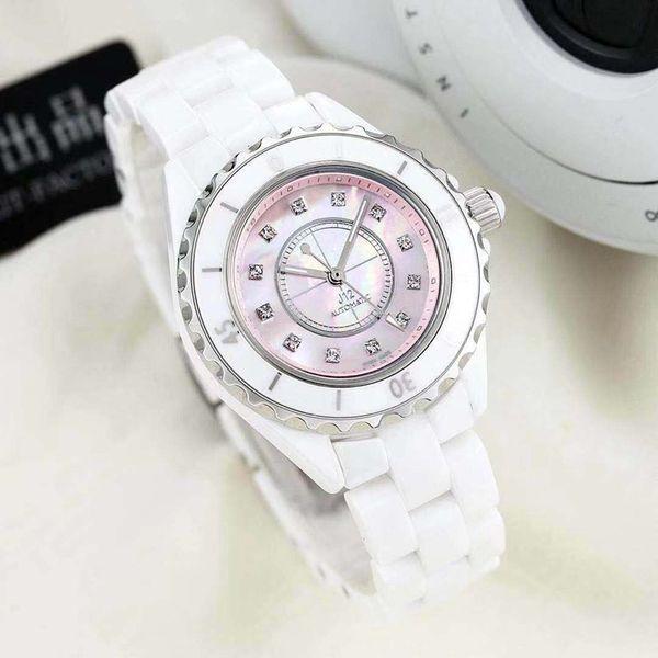 GT 2018 reloj de lujo para dama, reloj de diamante escala de diamante de cerámica, movimiento mecánico automático importado reloj fino de 33 mm