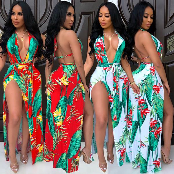 Seksi kadın güzel baskılı yarıklar asılı boyun 2 renk elbise kadın parti elbiseler rahat uzun elbise etekler plaj elbise