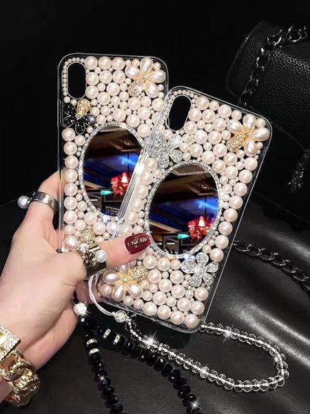 Cas de téléphone de luxe pour iPhone 11 pro max téléphone miroir Pearl Cover pour iPhone XR XS 7 8 plus shell couverture