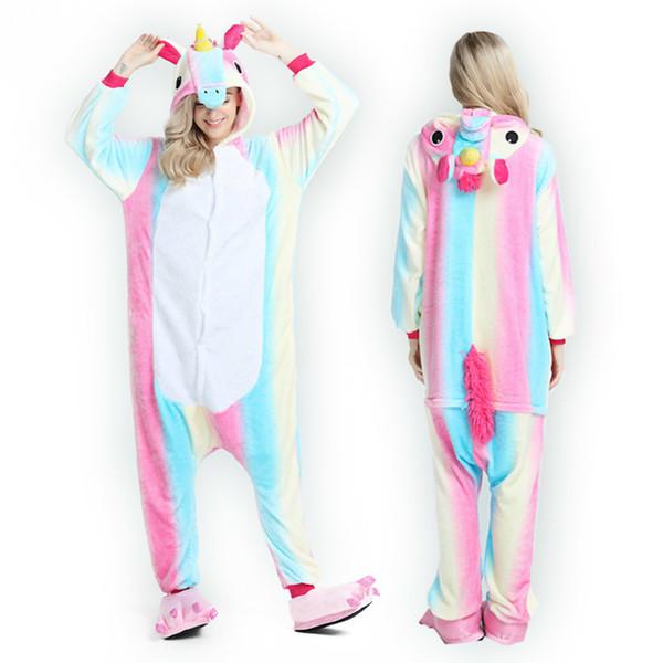 2018 Аниме Pajama наборы мультфильм пижамы Женщины Пижама фланель животных Panda Unicorn Пижама Winter Warm с капюшоном