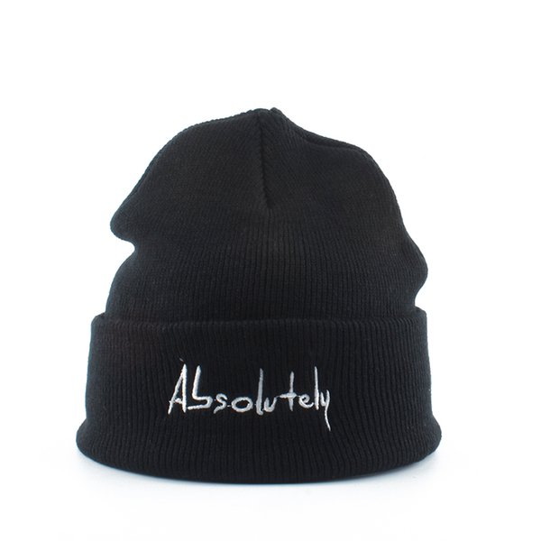 Skullies Шапочки для Мужчины Женщины АБСОЛЮТНО Письма Вышивка Winter Hat Теплый вязаный Bonnet