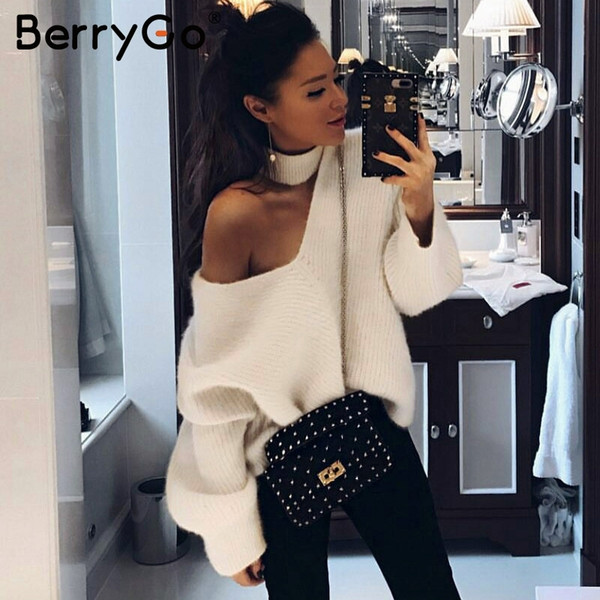 BerryGo Off shoulder blue knitted sweater female Sexy turtleneck oversize pullover Women jumpers 2018 casual winter fall sweater C18121701