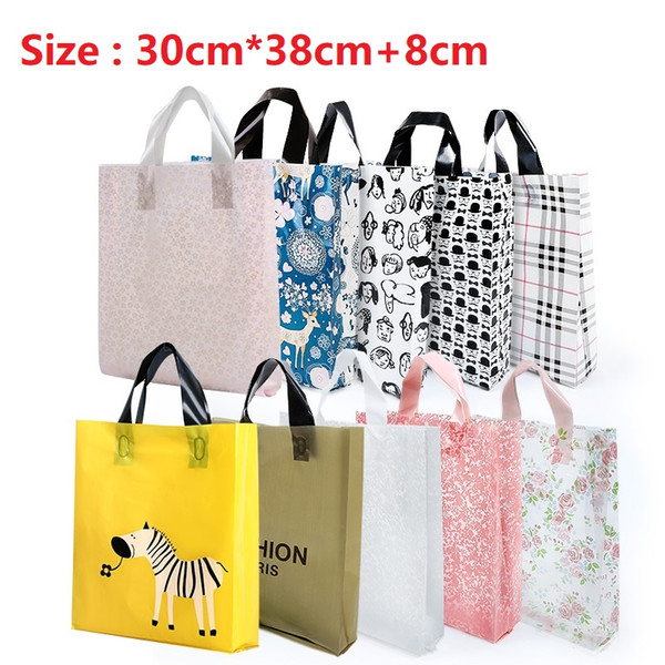 30cm*38cm+8cm(side) Elegant Plastic handle bag Plastic hand bags with handle Packing bags For gift cosmetic etc. Nine colors Free shipping