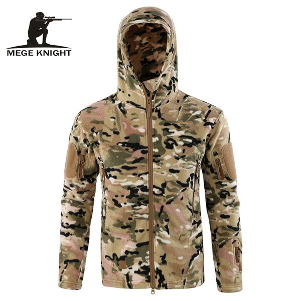 Mege Autumn Military Fleece Jacket Coat Camouflage Tactical Army Clothing for Men Warm Fleece Outwear Hoodies Typhon Multicam SH190918