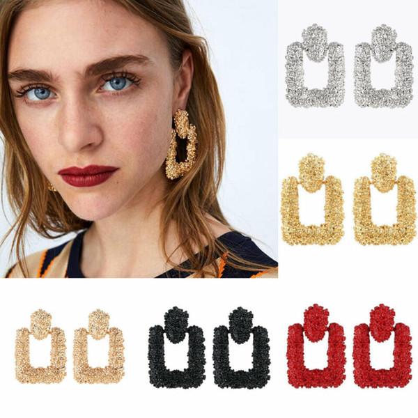 Büyük Chunky Metal Geometrik Moda Bildirimi Kadınlar Dangle Bırak saplama Küpe Parti Tatil DIY Süsleri