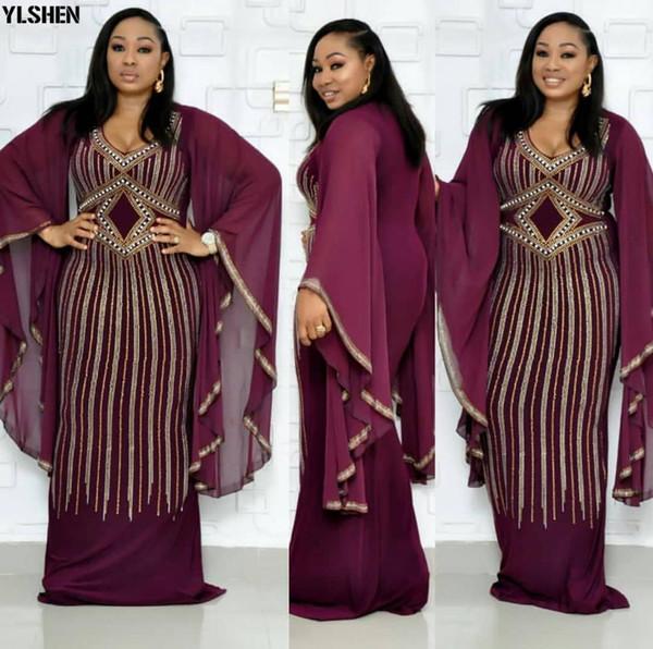 Vestidos africanos para as Mulheres Dashiki diamante roupas Africano Bazin Broder Riche Sexy Magro Ruffle luva Robe Evening vestido longo