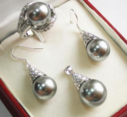 12mm Gri Kabuk Inci Kolye Kolye Küpe Yüzük Seti stylejewelry Kuvars Kristal Kadınlar Düğün