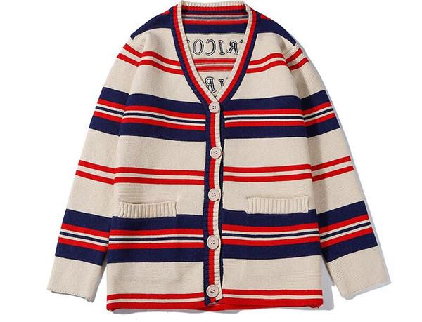 19S suéter de diseñador de mujer clásico a rayas de color a juego con letras bordado suéter de calidad hombres mujeres suéter de cardigan de lana con cuello en V salvaje