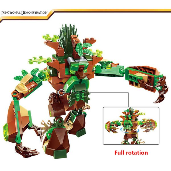 building blocks Enlighten Building Block War of Glory Castle Knights War Of Ancient Tree 1 Figures 286pcs Paladin/flying fish/tree elves