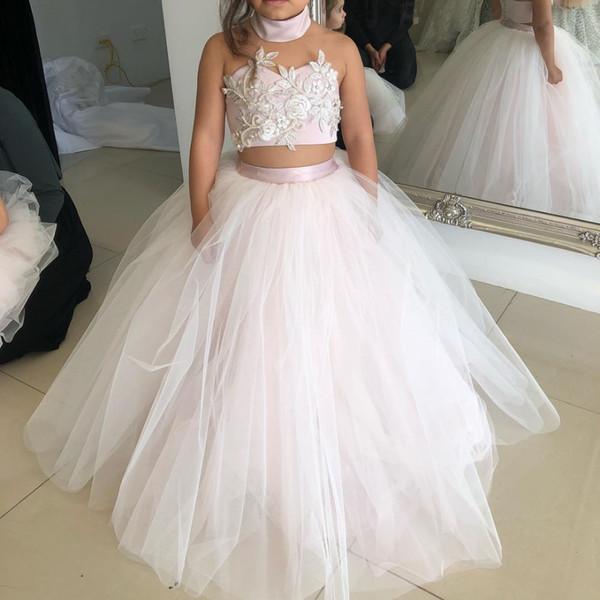 Compre 2019 Nueva Moda Pink Flower Girls Vestido Vestido De Bola Cuello Alto De Tul Blanco Dos Piezas Vestido Kids Party Vestido Kinder Avondjurken A