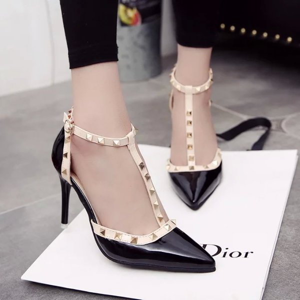 OLOMLB 2019 Women's Shoes Summer Style Fashion Female Sandals Rivet Metal Decoration Pu Leather Style Women High Heels