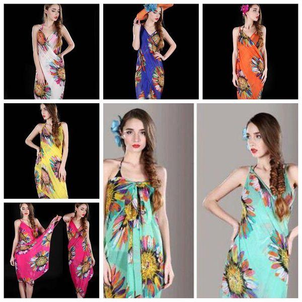 Summer Women Beach Dress Bohemia Sling Beach Wear Dress Floral Bikini Cover-ups Sunscreen Towel Open-Back Maternity Dresses CCA11328 100pcs