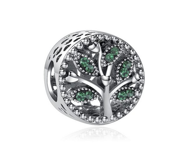 Оптовая 30шт серебро Шарм бисера Дерево жизни с зеленым хрустальные шарики приспосабливают женщин Pandora браслет змейки цепной браслет ювелирных изделий DIY