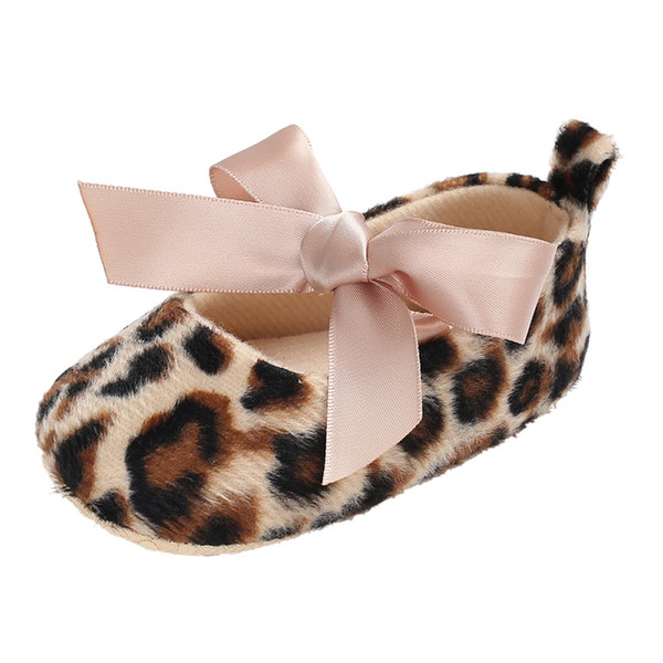 Toddler Cute Girl Leopard Print Tie Morbido LeopardLeopard Print Tie Morbido Neonato antiscivolo Baby Shoes Sole Calzature per bambini