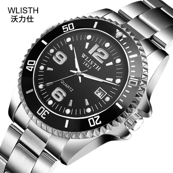 2019 Wlisth Brand Watch Men Rotatable moldura Gmt Sapphire vidro 30m aço inoxidável impermeável Sports Moda Quartz Reloj Hombre