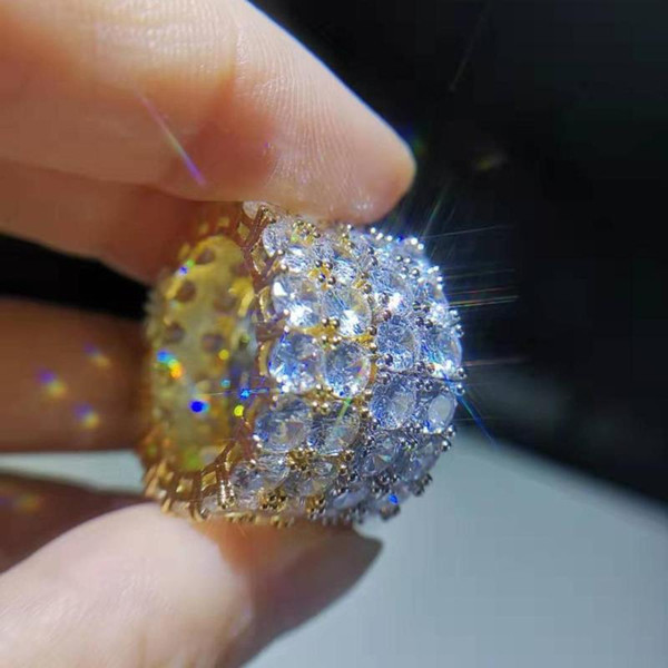 Eskeem الهيب هوب 8MM واسعة خاتم سوليتير مجوهرات عالية الجودة تماما يثلج خارجا 2 حلقة صف تنس للجنسين